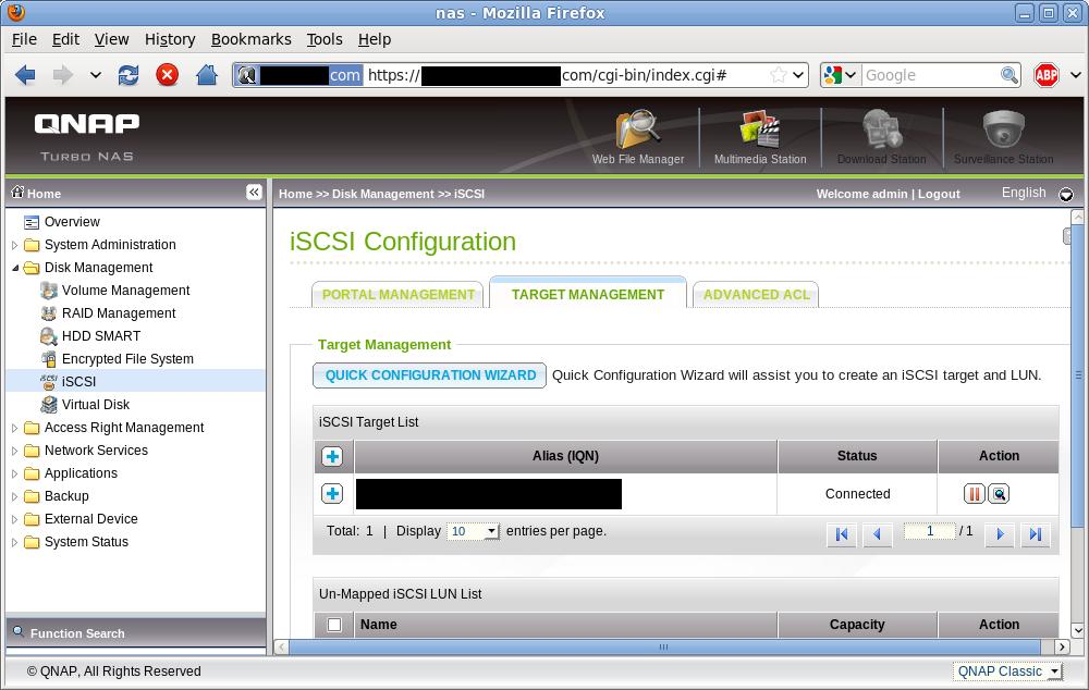 iSCSI target list