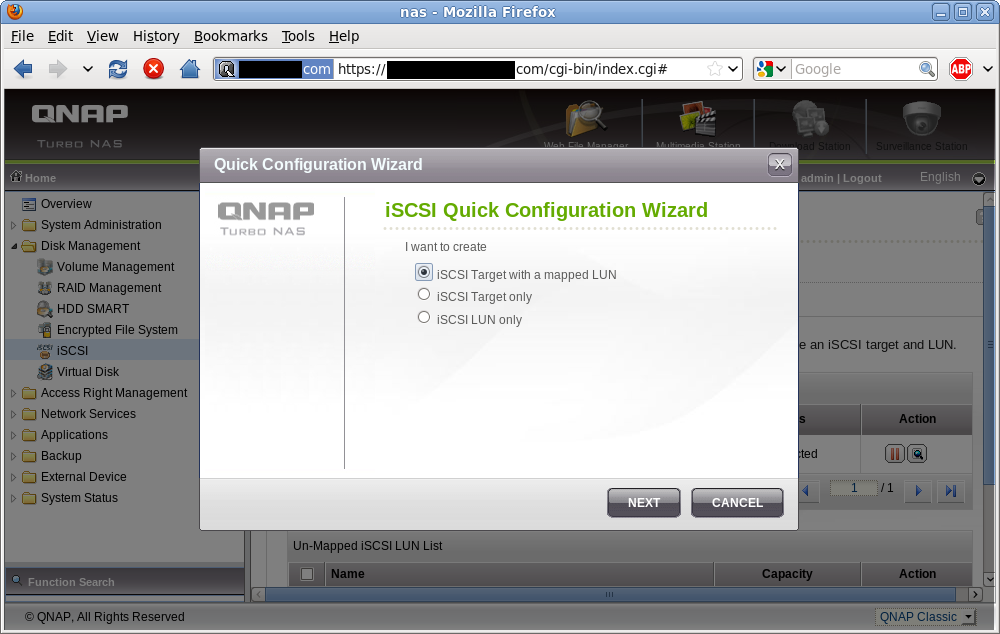 iSCSI target/LUN creation wizard