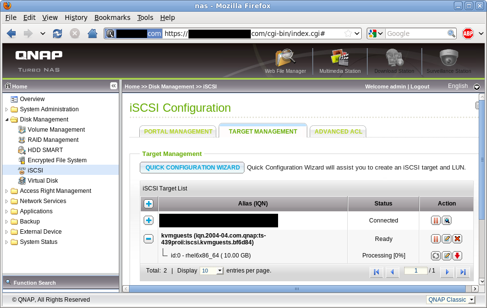 iSCSI target list (updated)