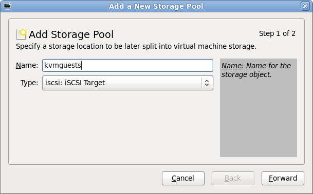Storage pool creation