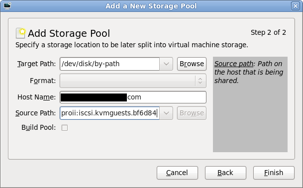 iSCSI storage pool parameters